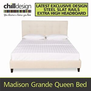 NEW FACTORY DIRECT QUEEN UPHOLSTERED TUFTED FABRIC BED FRAME HEAD Moffat Beach Caloundra Area Preview