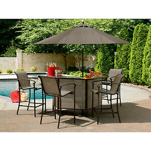 5 Pc Outdoor Patio Pool Garden Oasis Pub Patio Lounge Deck Furniture Bar Ebay