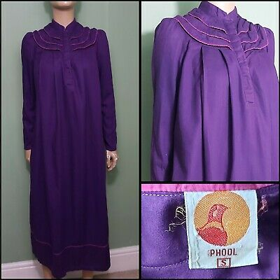 70s/80s Vintage Phool Indian Cotton Purple Ruffle Top Smock Dress With Pockets