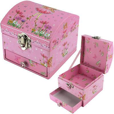 Schmuckschatulle Elfe mit Schublade Schmuckkästchen für Kinder rosa gewölbt Fee