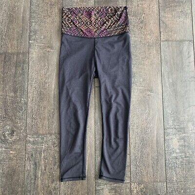 Fabletics Women's Capri Leggings Salar Printed Foldover Powerhold Gray XXS
