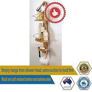 Bamboo Shower Caddy with Rust Proof Stainless Steel Smooth Hangin Paddington Eastern Suburbs Preview