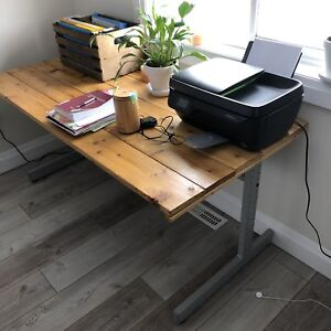 Industrial desk with barn wood top
