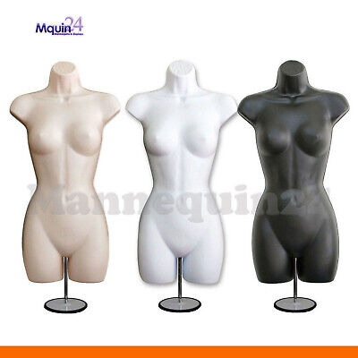 3 Female Mannequin Torsos Flesh White Black Dress Forms With 3 Stands 3 Hangers