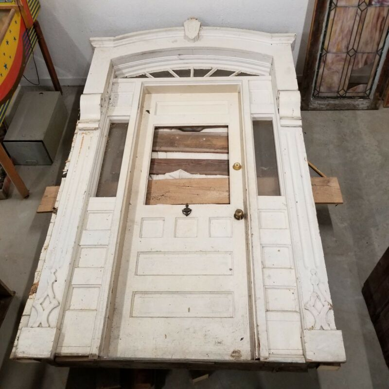 Antique Wood Entrance Door & Surrounding Entryway Trim Architectural Salvage