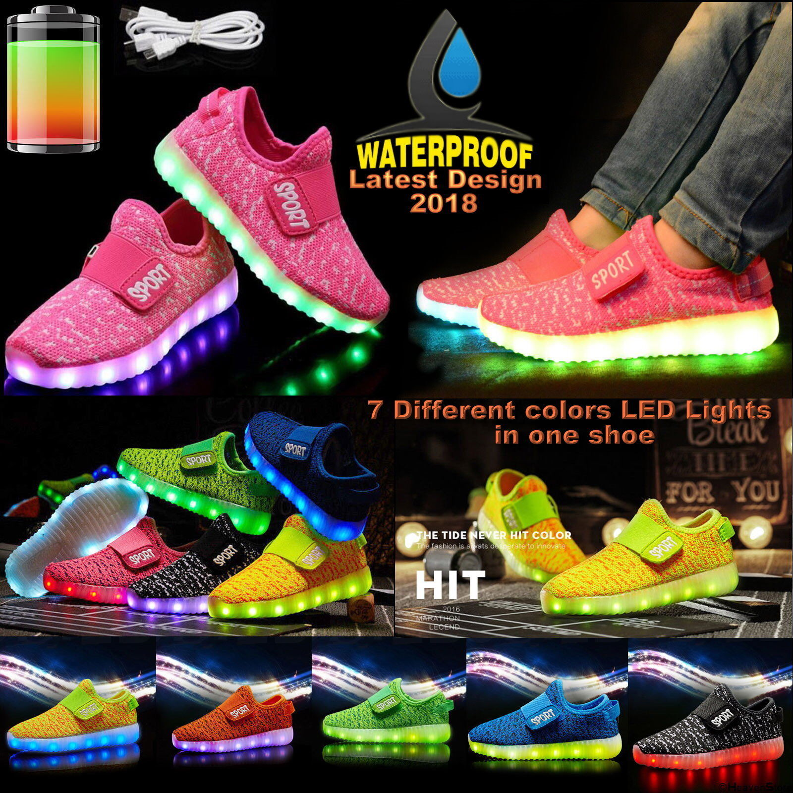 647cea34af83 Kids Boys Girls Light Up Shoes LED Flashing Trainers Casual Sneakers Uk Size  Lot