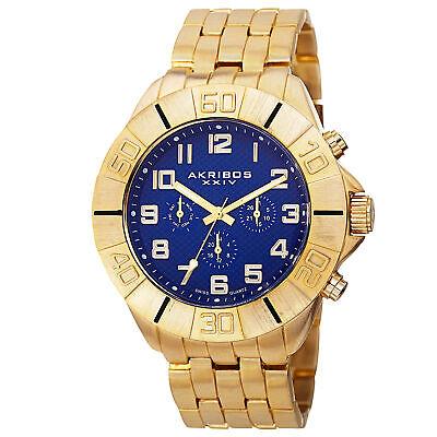 Men's Akribos XXIV AK767BU Swiss Quartz Multifunction Gold-tone Bracelet Watch