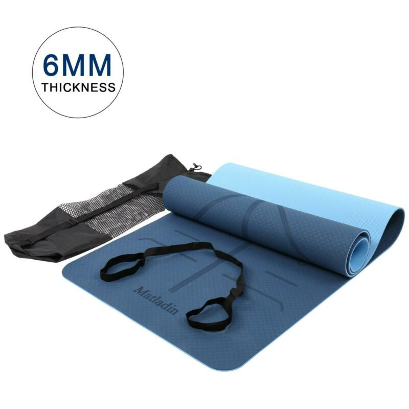 6mm Yoga Mat Gym Camping Non-Slip Fitness Exercise Pad TPE Blue