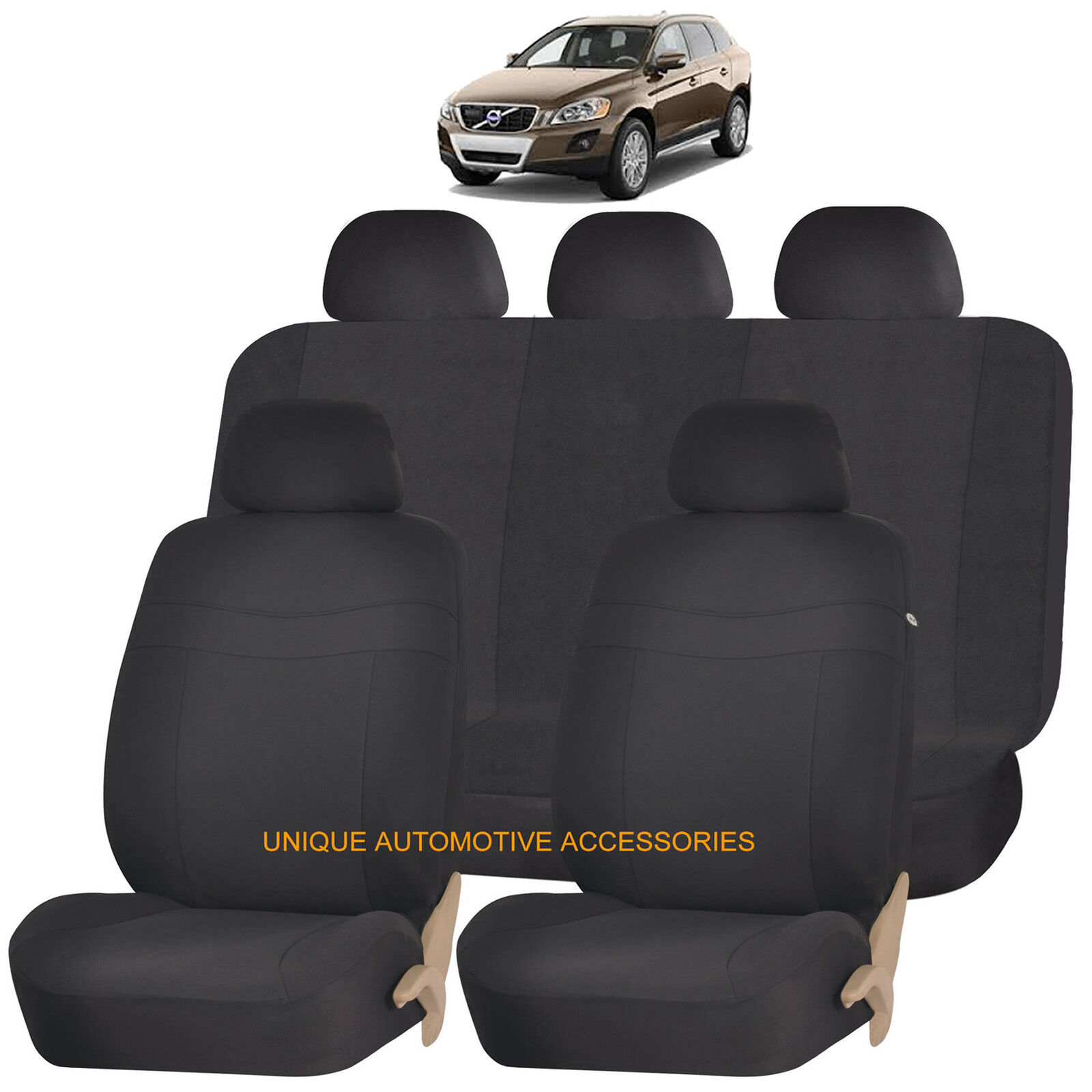 Pair of Front Luxury BEIGE /& BLACK Car Seat Covers Volvo C30