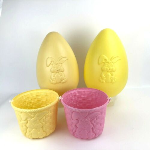 Grand Venture Bunny Easter Egg Blow Mold Yard Decor Baskets Yellow Pink LOT OF 4