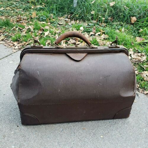 Antique Vintage Medical Doctor Bag Brown Cowhide Leather Physician Satchel c1900