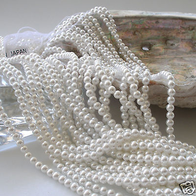 Japanese White Round Faux/Acrylic/Plastic Pearls Beads Strands 2,3.5,4 thru 12mm - White Pearls