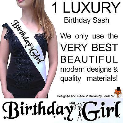 BIRTHDAY GIRL PARTY SASH 16th 18th 20th 21st 30th 40th 50th 60th - 21st Birthday Girl Accessories