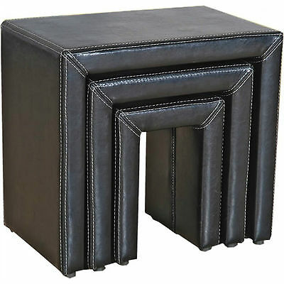 Nest of Tables Black Leather Three Piece Lamp Side End Coffee Table Set