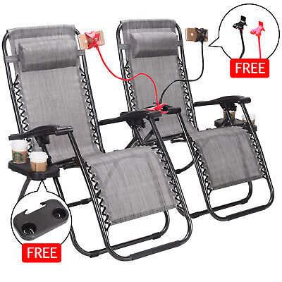 Zero Gravity Sofa Patio Chairs Case of 2 Cup Phone Holder Tray Foldable