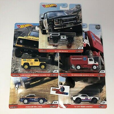 5 Car Set * 2020 Hot Wheels WILD TERRAIN Car Culture Case Q Bronco Porsche