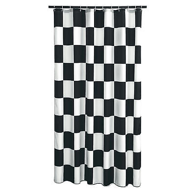 Extra Long Shower Curtain 72 x 78 Inch Gamma Checkered Flag Black And White