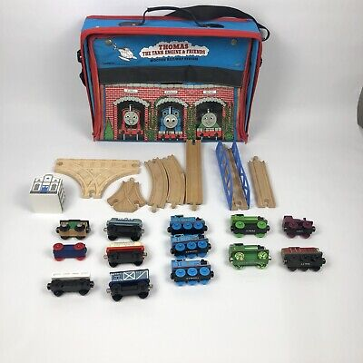 Vintage Thomas The Train & Friends Wooden Train Cars & Engines Tracks W/Case Lot