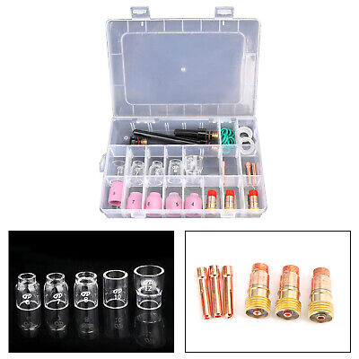 31pcs Tig Welding Torch Stubby Gas Lens 12 Pyrex Glass Cup Kit For Wp-171826
