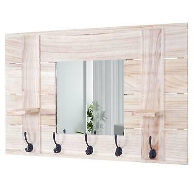 B-Ware Wandgarderobe MCW-C89 mit Spiegel, Garderobe, Vintage, 90x60cm naturbraun