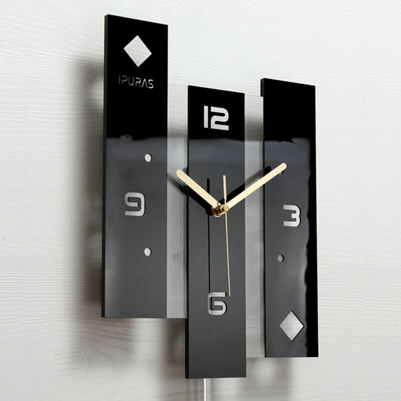 Modern Wall Clock Europe Pendulum Acrylic 3Pcs Set Clock Silent Swing