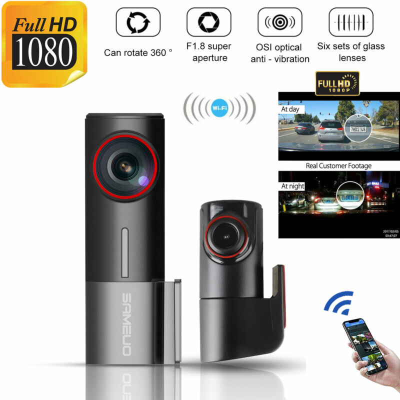 WiFi 1080P Car Camera Dual Dash Cam Front and Rear Night Vision 170 Wide Angle