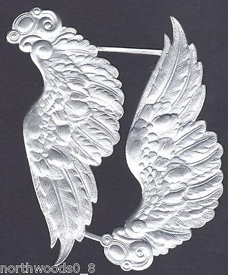 ANGEL WING LARGE ORNATE SILVER ORNAMENT DRESDEN GERMAN DOLL TOPPER RESTORE ()