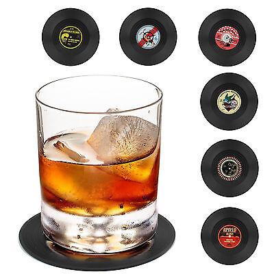 Vintage Vinyl Record Beverage Coasters Set of 6 for wine,beer,hot / cold -