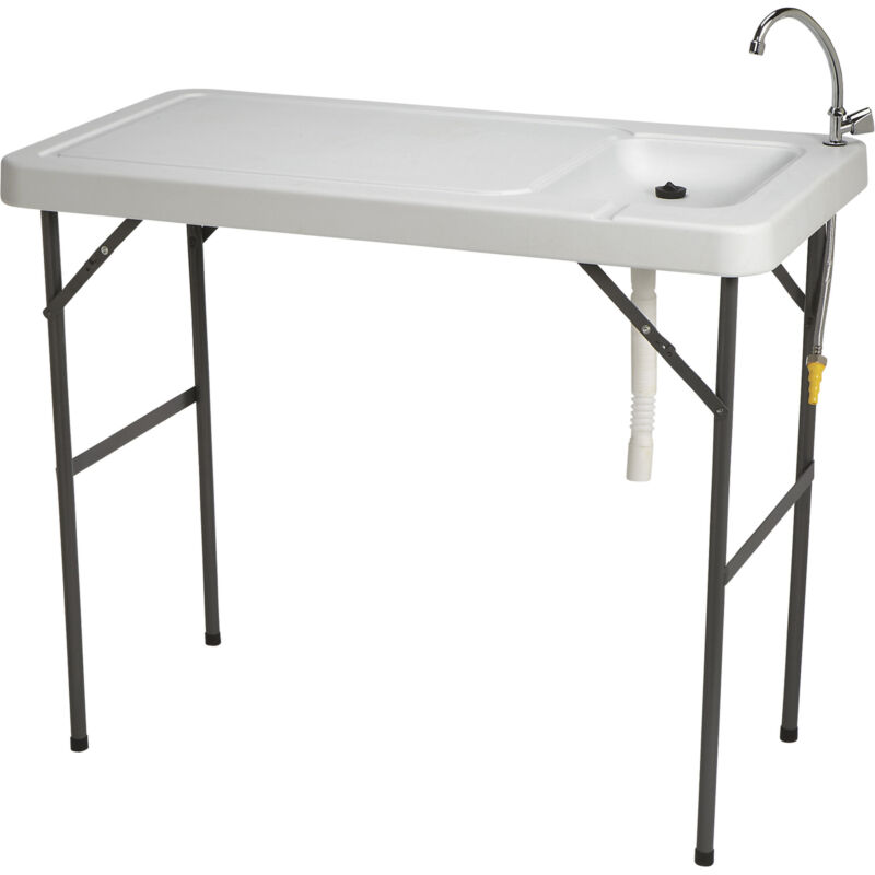 Portable Foldable Fish Cleaning Cutting Outdoor Camping Table with Sink Faucet
