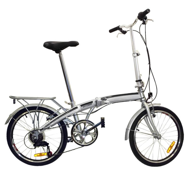 Folding Bike 20 Shimano 6 Speed Bike Fold Storage Silver College School