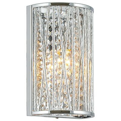 """Kira Home Claire 9"""" Modern Chic Wall Sconce + Hanging Crysta"""
