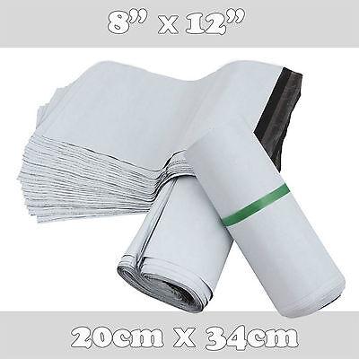 100 White Premium Quality Plastic Mailing Postal Poly Postage Bags 8x12 20x34cm