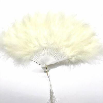 Marabou Large Deluxe Dainty Feather Fan - Ivory (Style 1) Grand Large Fan
