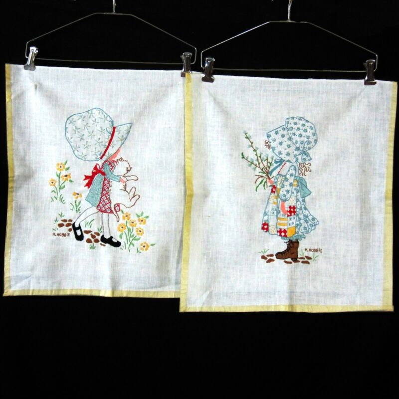 Crewel Embroidery 2 Holly Hobbie Completed Pictures Vintage 1970s