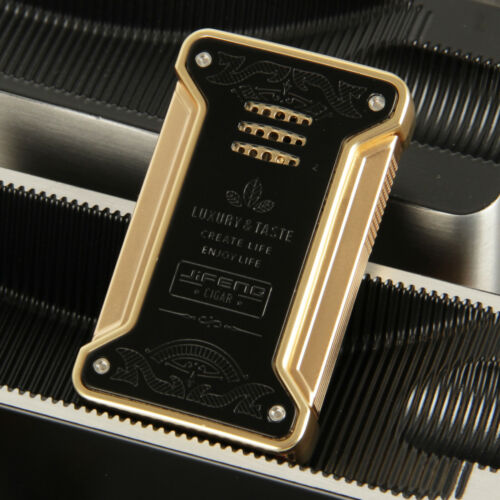 CIGARISM Black&Gold Luxury Fashion Carving 1 Torch Flame Cigar Lighter