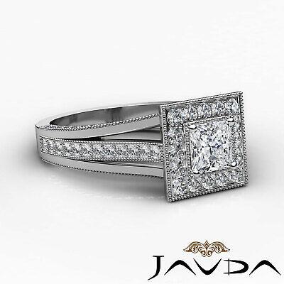 Milgrain Bezel Princess Diamond Engagement Split Shank Ring GIA F VVS1 1.40 Ct 1