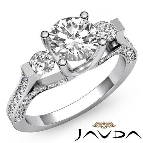 Gorgeous Round Diamond Engagement 3 Stone Ring GIA F SI1 14k White Gold 2.5ct