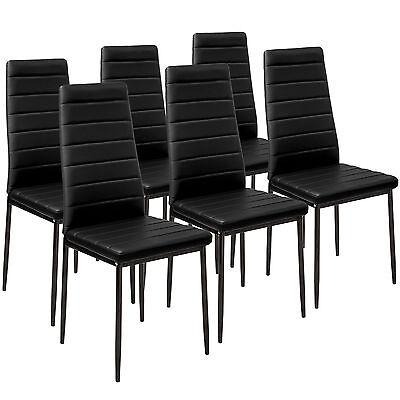 6x Sillas de comedor Juego elegantes sillas de diseño modernas cocina negro...