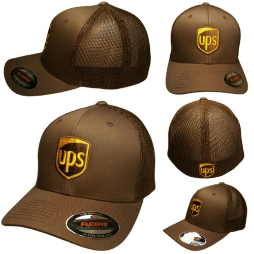 UPS FLEXFIT Style 6511 Trucker Mesh Embroidered on Front & Back of the Hat