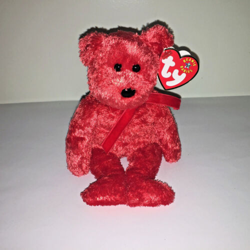 """Retired TY Plush Beanie Baby """"Sizzle"""" The Red Cuddly Bear with Red Ribbon"""