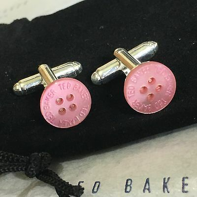 Mens TED BAKER Cufflinks ROSE PINK Mother Pearl Shirt Button Silver Plated + Bag