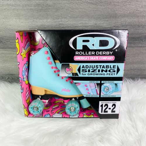 New ROLLER DERBY Girls Pixie Lucy Pink Blue Adjustable Roller Skates Sizes 12-2