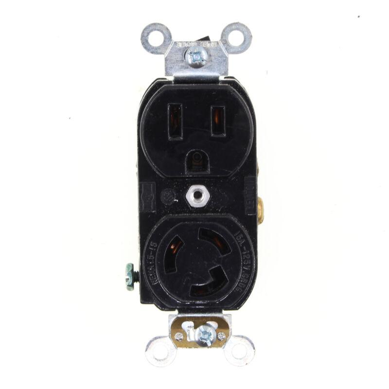 LEVITON 4792 DUPLEX LOCKING RECEPTACLE STRAIGHT/LOCK COMBO, 15A, 125V, BLACK