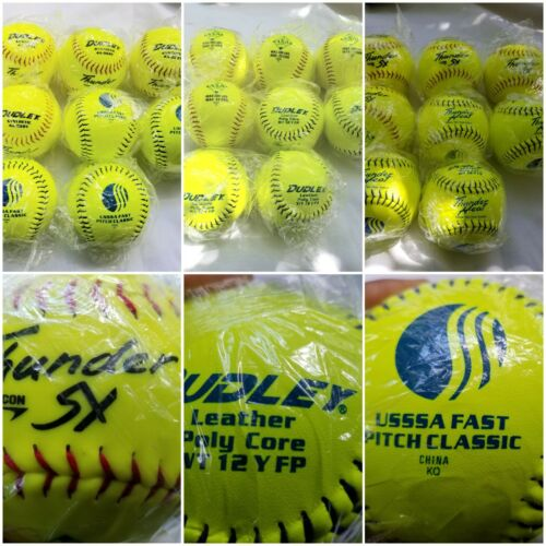 "Dudley 11"" ASA Yellow Fastpitch plus Softball Lot of 8 Thunder Sx Thunder Heat"