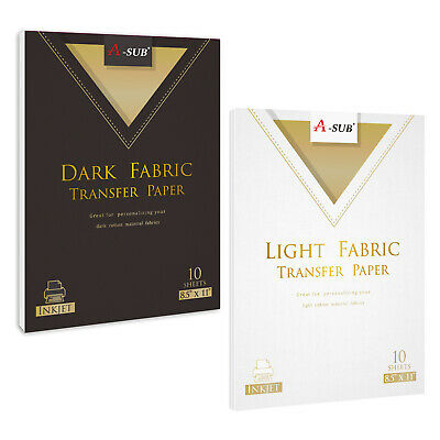 Inkjet Printable Dark Light Fabric Iron-on Heat Transfer Paper Cotton 20 Sheet