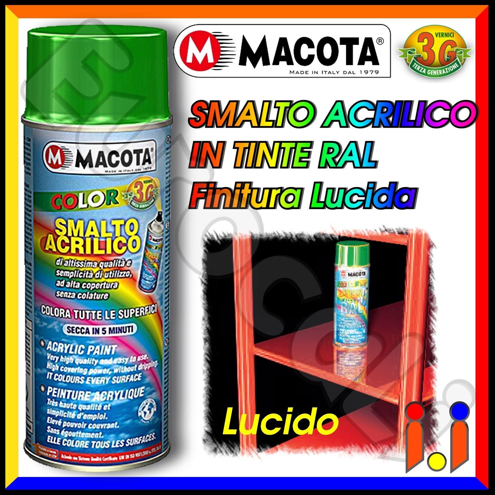 MACOTA Vernice Spray 400ml Smalto Acrilico a Scelta Colori RAL Lucido NON COLA