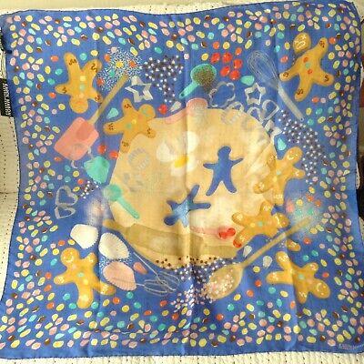 BNWTs Karen Mabon silk scarf, bake-off theme, blue + multi colours
