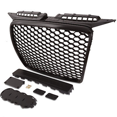 BLACK RS STYLE BADGELESS DEBADGED FRONT MESH GRILL GRILLE FOR AUDI A3 8P 05-08