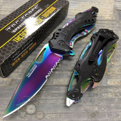 Tac Force Half Serrated Rainbow Blade Tactical Spring Assisted Pocketknife
