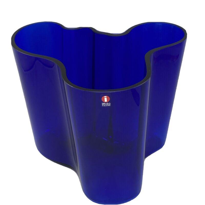 "Mid Century Modern Iittala Alvar Aalto Savoy Blue Vase Cobalt 6.25"" Tall"